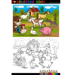 Cartoon Farm and Livestock Animals for Coloring vector image