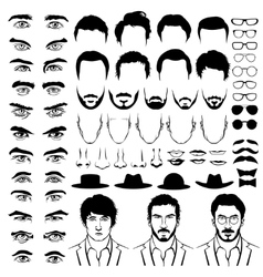 Constructor with men hipster haircuts glasses vector image vector image
