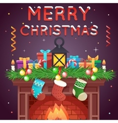 Fireplace With Socks Gifts Candles Template vector image