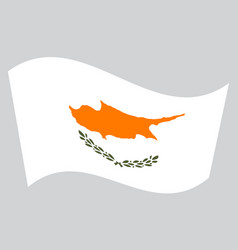 flag of cyprus waving on gray background vector image