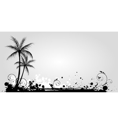 grunge palm 1 vector image vector image