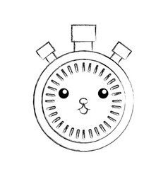 kawaii chronometer speed timer cartoon vector image