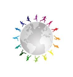 rainbow running around the world vector image vector image