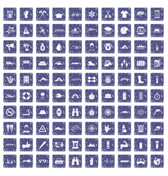 100 rafting icons set grunge sapphire vector