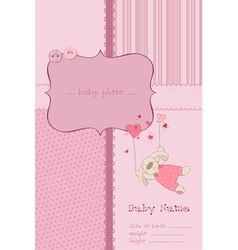 baby girl arrival card with photo frame and place vector image vector image