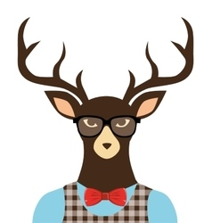 deer hipster dressed glasses vector image
