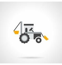 Farm excavator flat color icon vector image