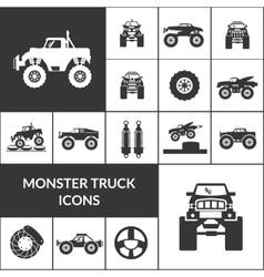 Monster truck icons set vector