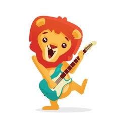 Musical animals Lion Guitar vector image vector image