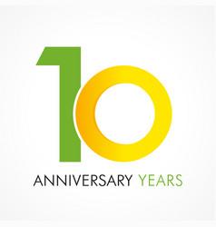 10 circle anniversary logo vector image