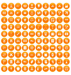 100 activity icons set orange vector