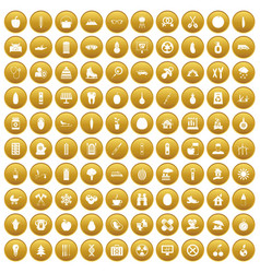 100 child health icons set gold vector