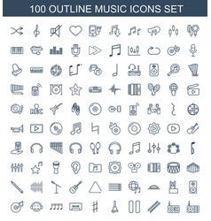 100 music icons vector image