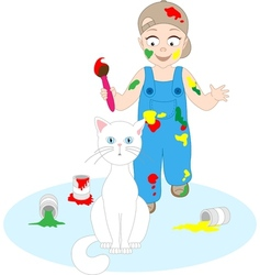 A boy is going to paint a cat vector image
