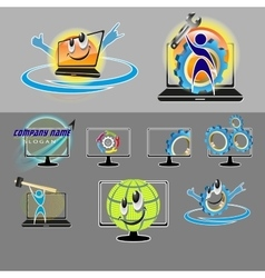 a set of logos for computer repair vector image