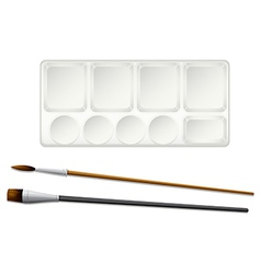 A topview of the paintbrushes and an ink tray vector