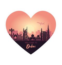 Abstract heart-shaped dubai city landscape vector