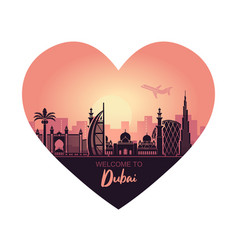 abstract heart-shaped dubai city landscape with vector image
