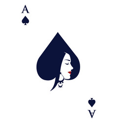 Ace spades with face beautiful woman vector