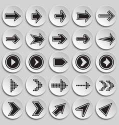 Arrows icons set with outline on plates background vector