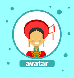 asian woman avatar icon thai female in traditional vector image