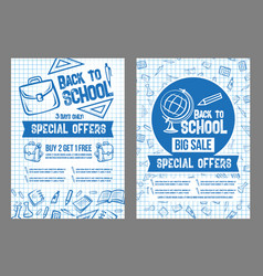 Back to school sale special offer posters vector
