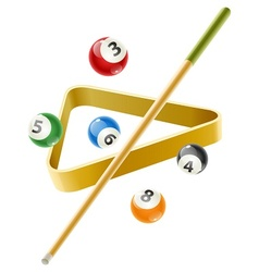 Ball and cue for billiard game vector