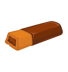 bar of chocolate with biscuit inside stuffed with vector image