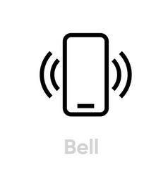 bell phone icon editable line vector image