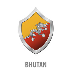 Bhutan flag on metal shiny shield vector