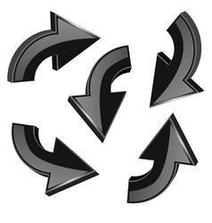 black turning arrows 3d shiny icons set vector image