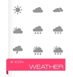 black weather icon set vector image