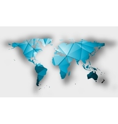 Blue polygonal world map with shadow vector