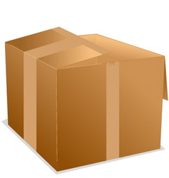 cardboard box with sticker tape vector image vector image