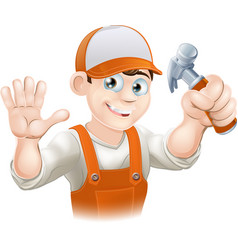 Carpenter or builder with hammer vector