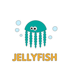cartoon jellyfish flashcard for children vector image
