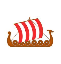 Cartoon norwegian ship travel and tourism symbol vector