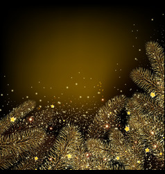 christmas background with golden fir twig vector image