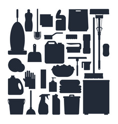 Cleaning service silhouettes set house cleaning vector
