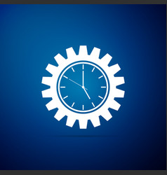 clock gear icon isolated on blue background vector image