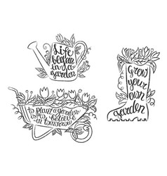 collection of grunge contour gardening placards vector image