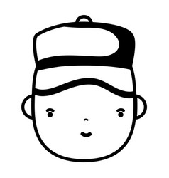 Contour man head plumber job to service repair vector
