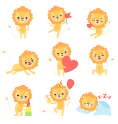 cute lion in different situations set adorable vector image