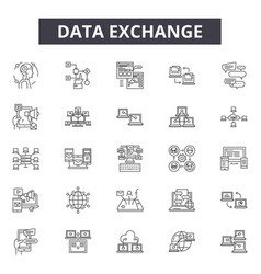 data exchange line icons signs set vector image