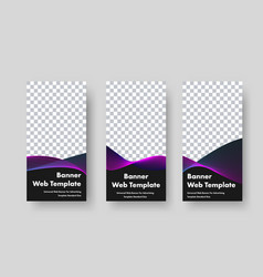 Design vertical black web banners with place vector
