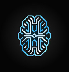 digital brain blue outline icon cyberbrain vector image