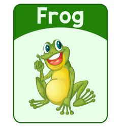 Educational english word card frog vector