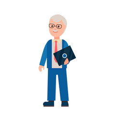 Elderly man with laptop poster vector