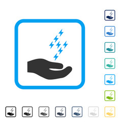 Electric energy offer hand framed icon vector