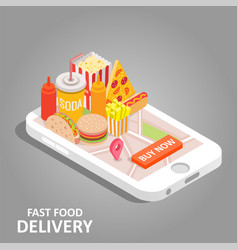 fast food online isometric vector image